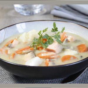 Blanquette de la mer, cabillaud, saumon et crevettes, riz