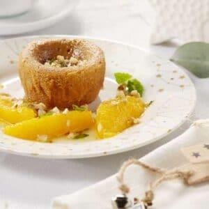 Fondant aux mandarines caramélisées et crème anglaise